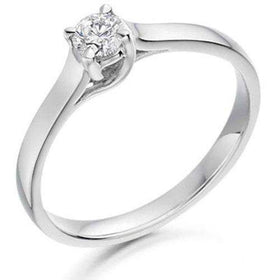 0.20ct Round Diamond Engagement Ring - Various Metals Available - EN63R20-Ogham Jewellery