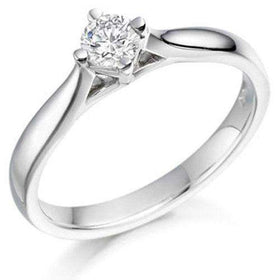 0.20ct Round Diamond Engagement Ring - Various Metals Available - EN68R20-Ogham Jewellery