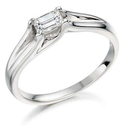 0.25ct Emerald Cut Diamond Engagement Ring - Various Metals Available EN27E25-Ogham Jewellery
