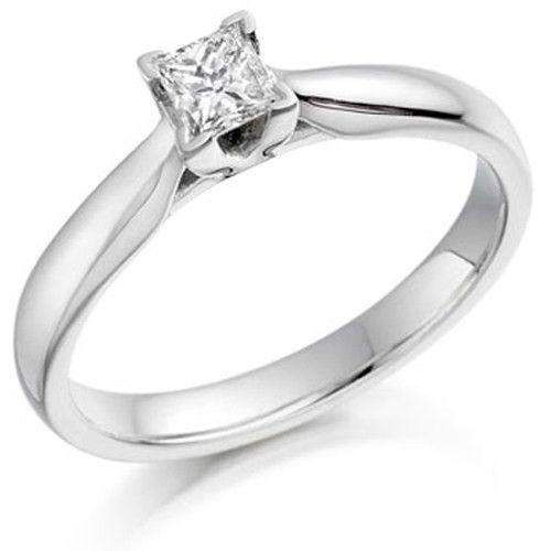 0.25ct Princess Cut Diamond Engagement Ring - Various Metals Available - EN65P25-Ogham Jewellery