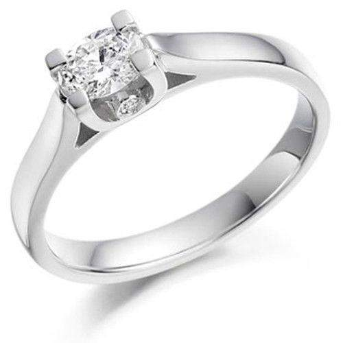 0.26ct Oval & Round Diamond Engagement Ring - Various Metals - EN64OV26-Ogham Jewellery