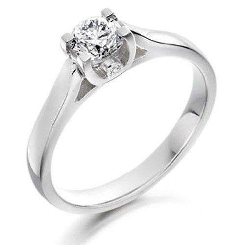 0.34ct Round Diamond Engagement Ring - Various Metals Available - EN64R34-Ogham Jewellery