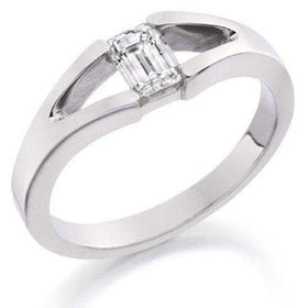 0.50ct Emerald Cut Diamond Engagement Ring - Various Metals EN112E50-Ogham Jewellery