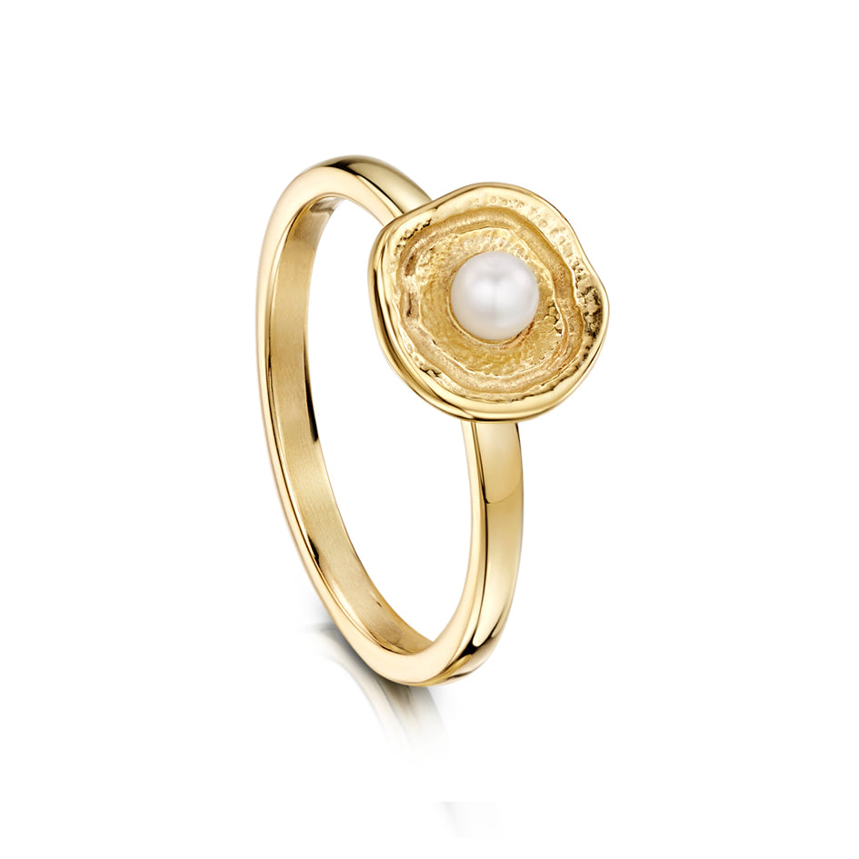 Lunar 9ct Yellow Gold Ring With Pearl - SR00249