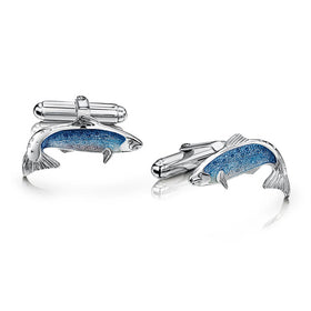 Salmon Sterling Silver and Enamel Cufflinks - ECL255-SALMN