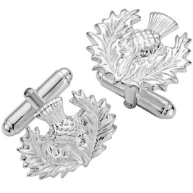 Silver Traditional Thistle Cufflinks - NO143