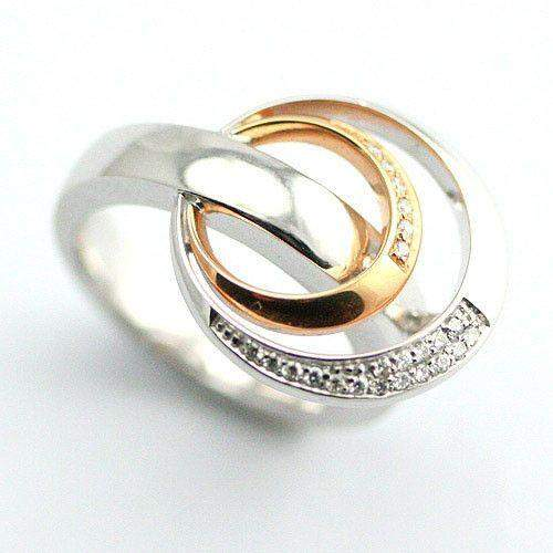14ct Designer White and Rose Gold Ring