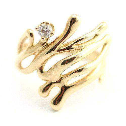 14ct Gold & Diamond Designer Ring-Ogham Jewellery