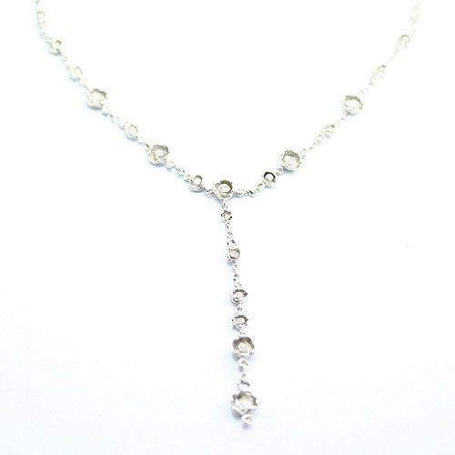14ct White Gold & Diamonds Designer Necklace-Ogham Jewellery
