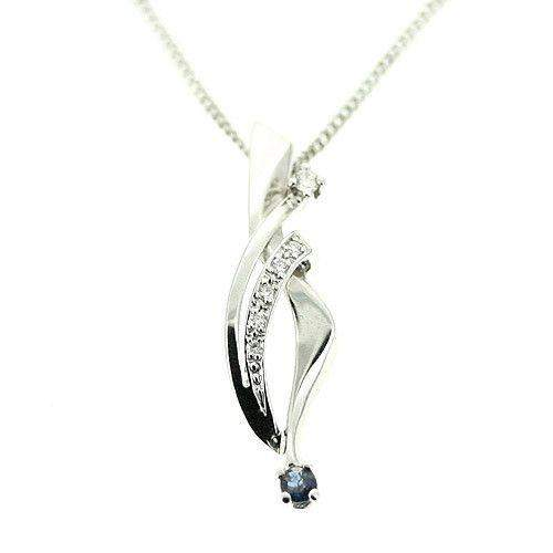 14ct White Gold & Sapphire Pendant GD34-Ogham Jewellery