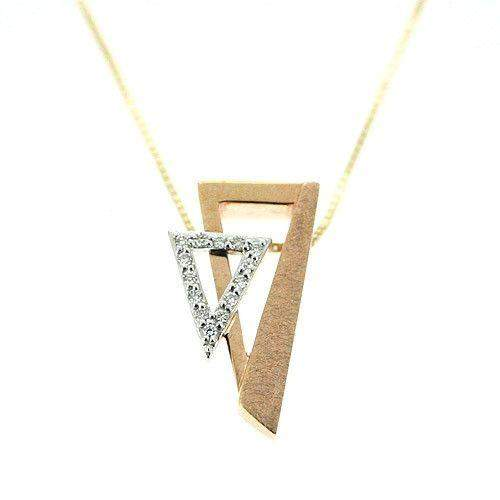 14ct White & Rose Gold & Diamonds Pendant