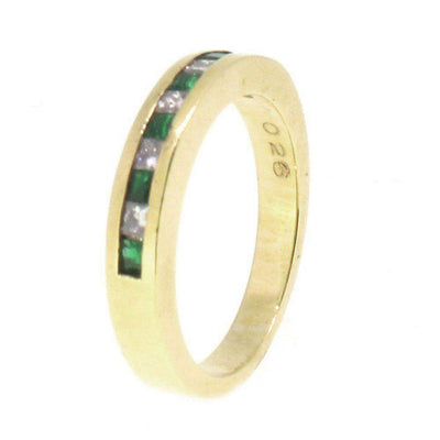 18 Carat Gold Diamond And Emerald Ring -6893-Ogham Jewellery