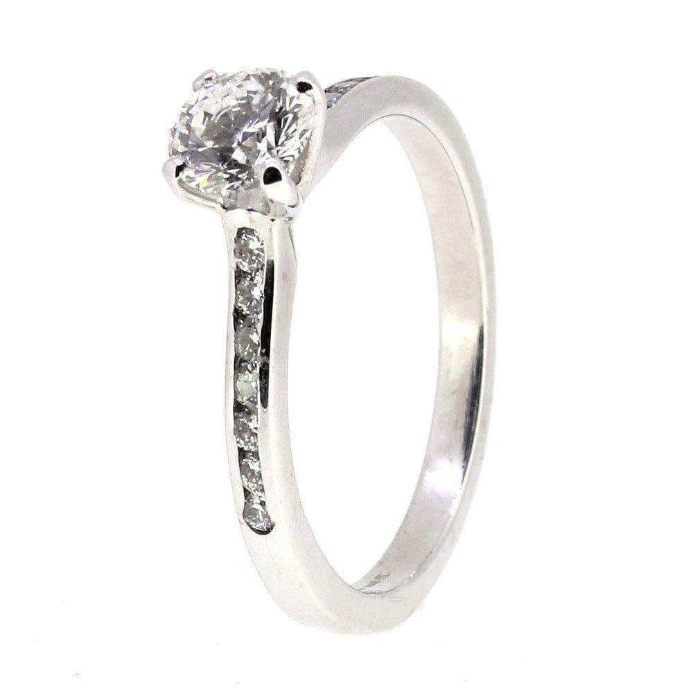18 Carat White Gold And Diamond Engagement Ring-Ogham Jewellery