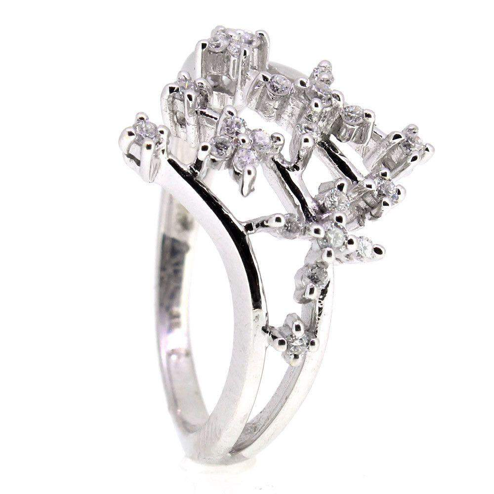 18 Carat White Gold And Diamond Ring -10389-Ogham Jewellery