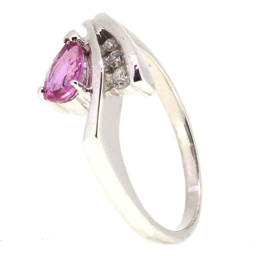 18 Carat White Gold Diamond and Pink Sapphire Dress Ring-Ogham Jewellery