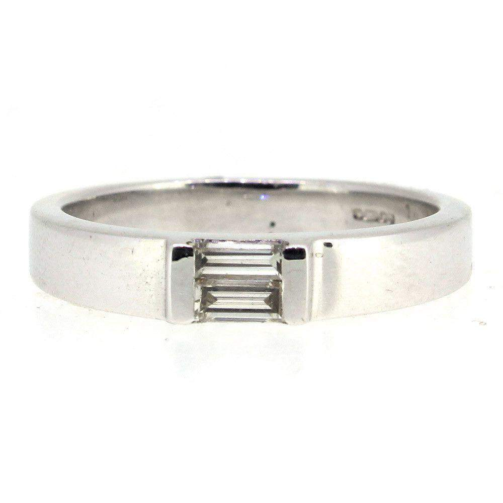 18 Carat White Gold Emerald Cut Engagement Ring - 2561-Ogham Jewellery