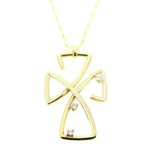 18 Carat Yellow Gold Cross With Diamonds -P461DG-Ogham Jewellery