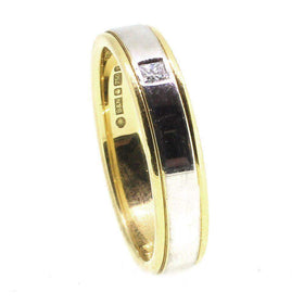 18 Carat Yellow &White Gold Diamond Wedding Ring - XD312-Ogham Jewellery