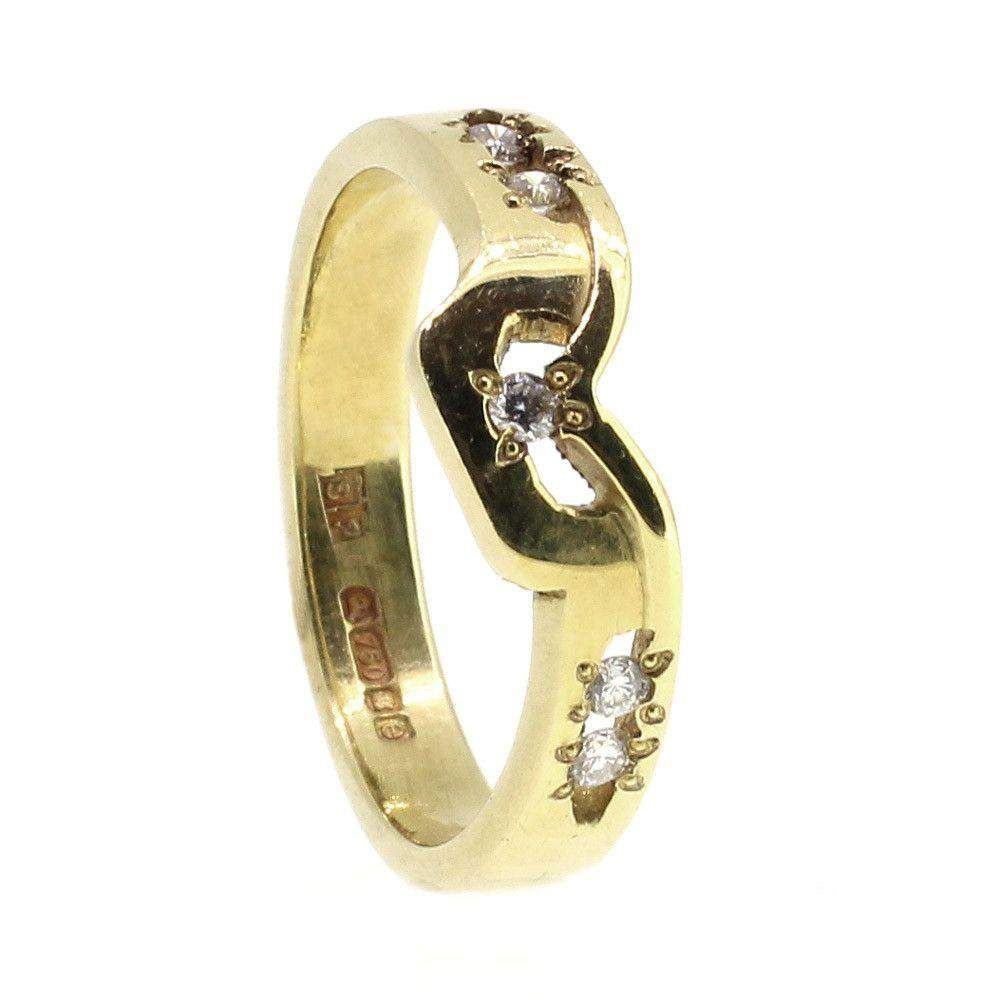 18ct Gold & Diamond Shaped Designer Ring-Ogham Jewellery