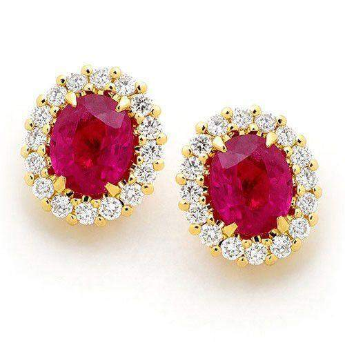18ct Gold Diamonds & Ruby Earrings - MM8A00-18DR-Ogham Jewellery