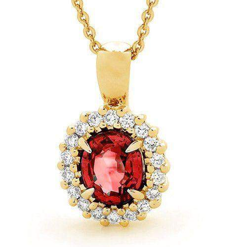 18ct Gold Diamonds & Ruby Pendant - MM6N49-18DR-Ogham Jewellery