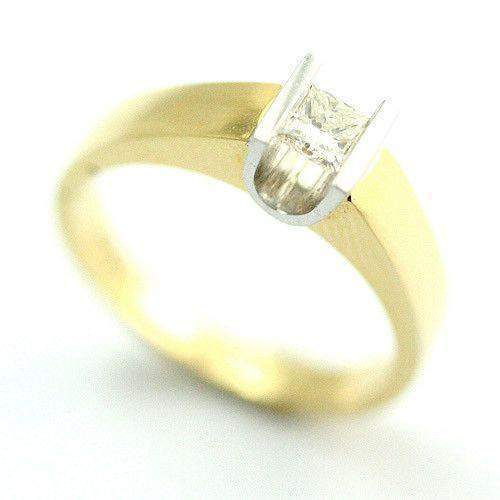 18ct Gold Quarter Carat Princess Cut Diamond Engagement Ring-2809PC