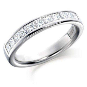 18ct Gold White Gold or Platinum Princess Cut Diamond Half Eternity Ring 0.75ct - HET102-Ogham Jewellery