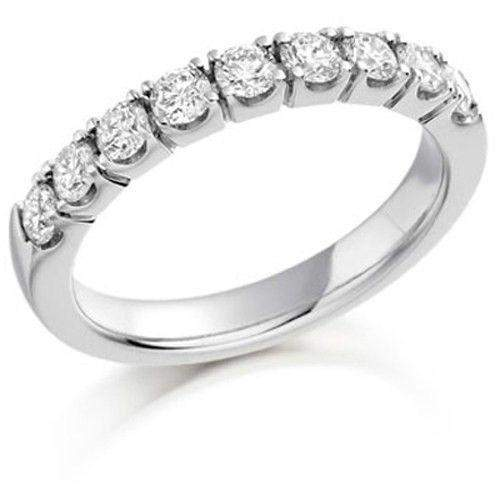 18ct Gold White Gold or Platinum Round Diamond Half Eternity Ring 0.75ct - HET180-Ogham Jewellery