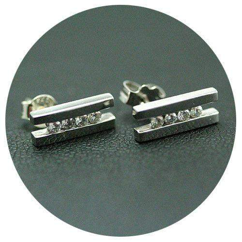 18ct White Gold & 0.20ct Diamond Stud Earrings-Ogham Jewellery