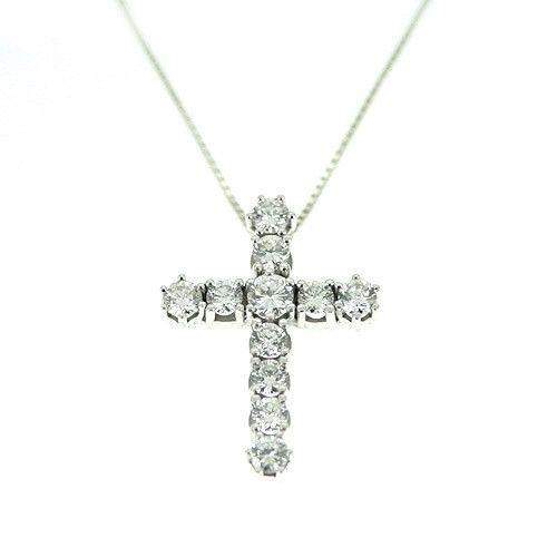 18ct White Gold and Diamond Cross-Ogham Jewellery