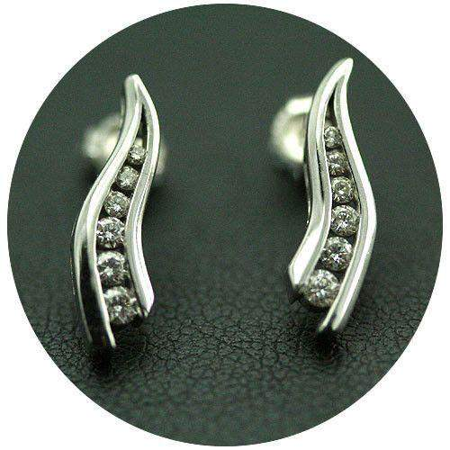 18ct White Gold and Diamond Earrings-Ogham Jewellery