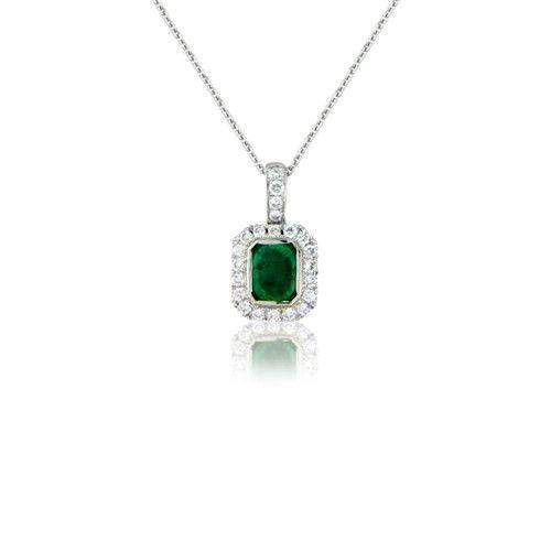18ct White Gold Diamond and Emerald Pendant - MM6S45W-18DE-Ogham Jewellery