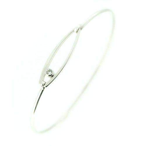 18ct White Gold & Diamond Bangle -DBG5-Ogham Jewellery