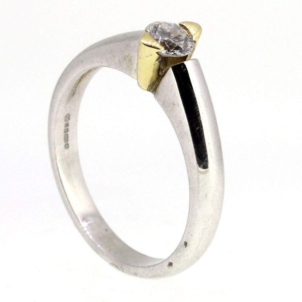 18ct White Gold Diamond Engagement Ring - 0.31ct-Ogham Jewellery