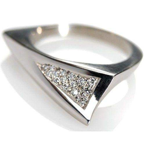 18ct White Gold & Diamond Mens Ring - Thorn