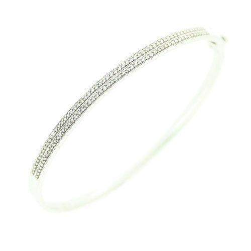 18ct White Gold & Diamonds Bangle -JAL004-Ogham Jewellery