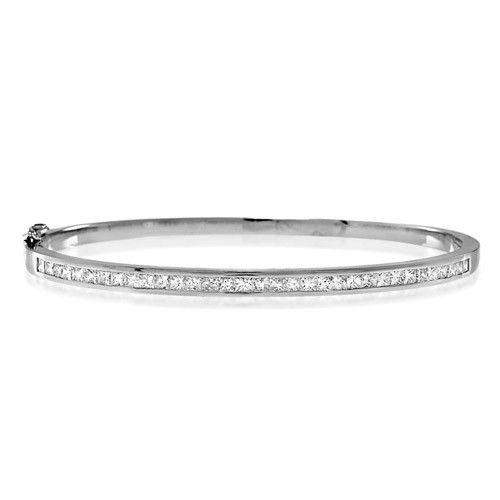 18ct White Gold & Diamonds Bangle - K1014-Ogham Jewellery