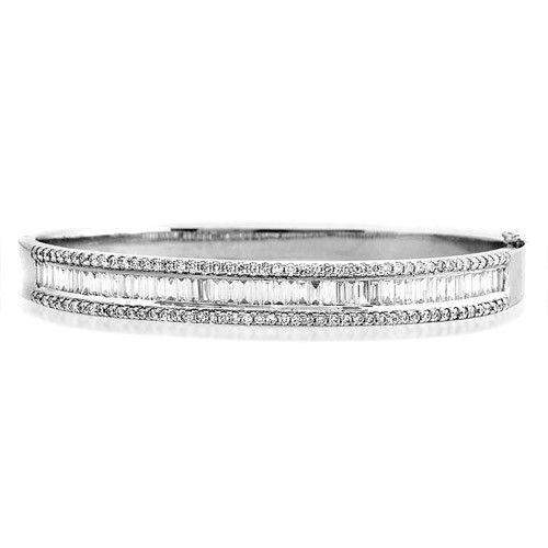 18ct White Gold & Diamonds Bangle - K1016-Ogham Jewellery