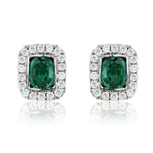 18ct White Gold Emerald and Diamond Earrings - MM8F41W-18DE-Ogham Jewellery