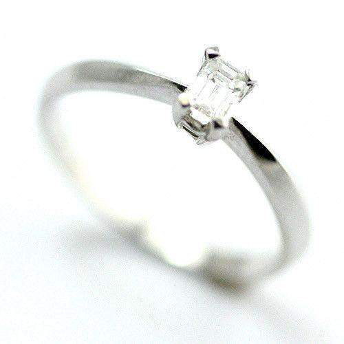 18ct White Gold Emerald Cut Certificated Diamond Engagement Ring 0.25ct-Ogham Jewellery