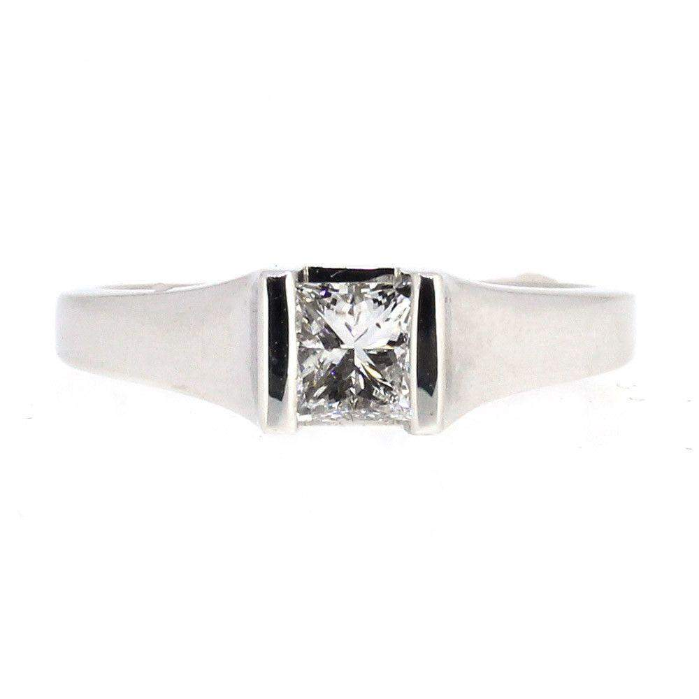 18ct White Gold Princess Cut Certificated Diamond Engagement Ring 0.33ct or 0.40ct-Ogham Jewellery