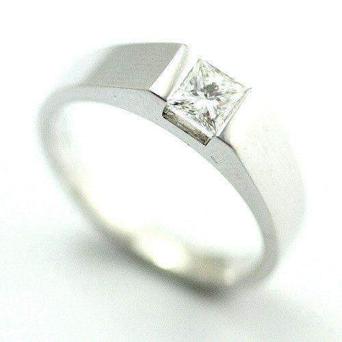 18ct White Gold Princess Cut Diamond Engagement Ring - 0.25ct - 0.4ct-Ogham Jewellery