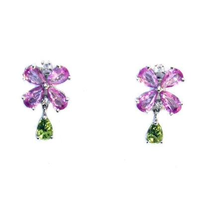 18ct White Gold Sapphire And Peridot Earrings-Ogham Jewellery