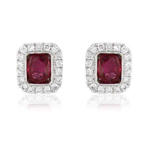 18ct White Gold with Diamonds and Ruby Earrings - MM8F41W-18DR-Ogham Jewellery