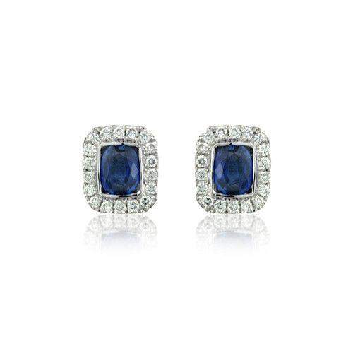 18ct White Gold with Diamonds and Sapphire Earrings - MM8F41W-18DS-Ogham Jewellery