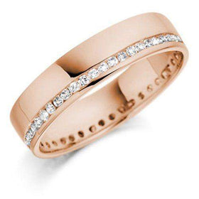 18ct White Yellow or Rose Gold & Diamonds Wedding Ring - R125WG4 Size H-Q-Ogham Jewellery