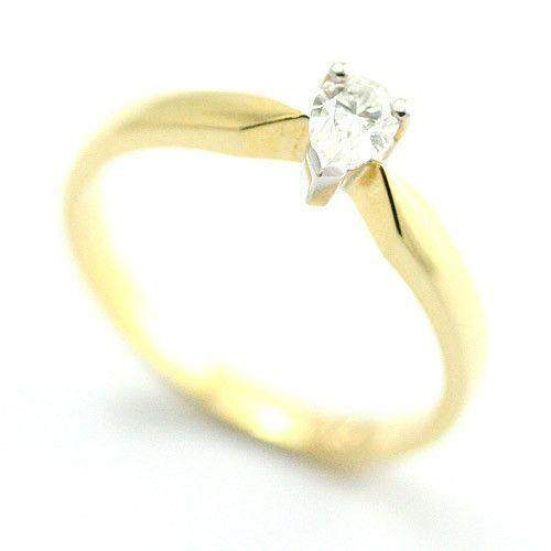 18ct Yellow Gold Certificated Pear Shape Diamond Engagement Ring - 0.25ct-3603