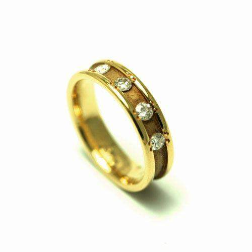 18ct Yellow Gold Diamond Set Wedding Band-Ogham Jewellery