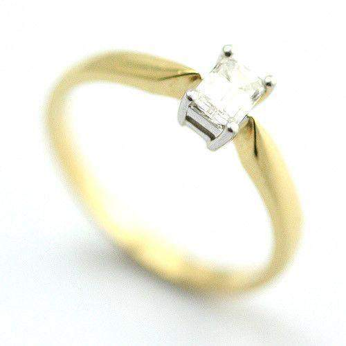 18ct Yellow Gold Emerald Cut Certificated Diamond Engagement Ring 0.33ct-Ogham Jewellery