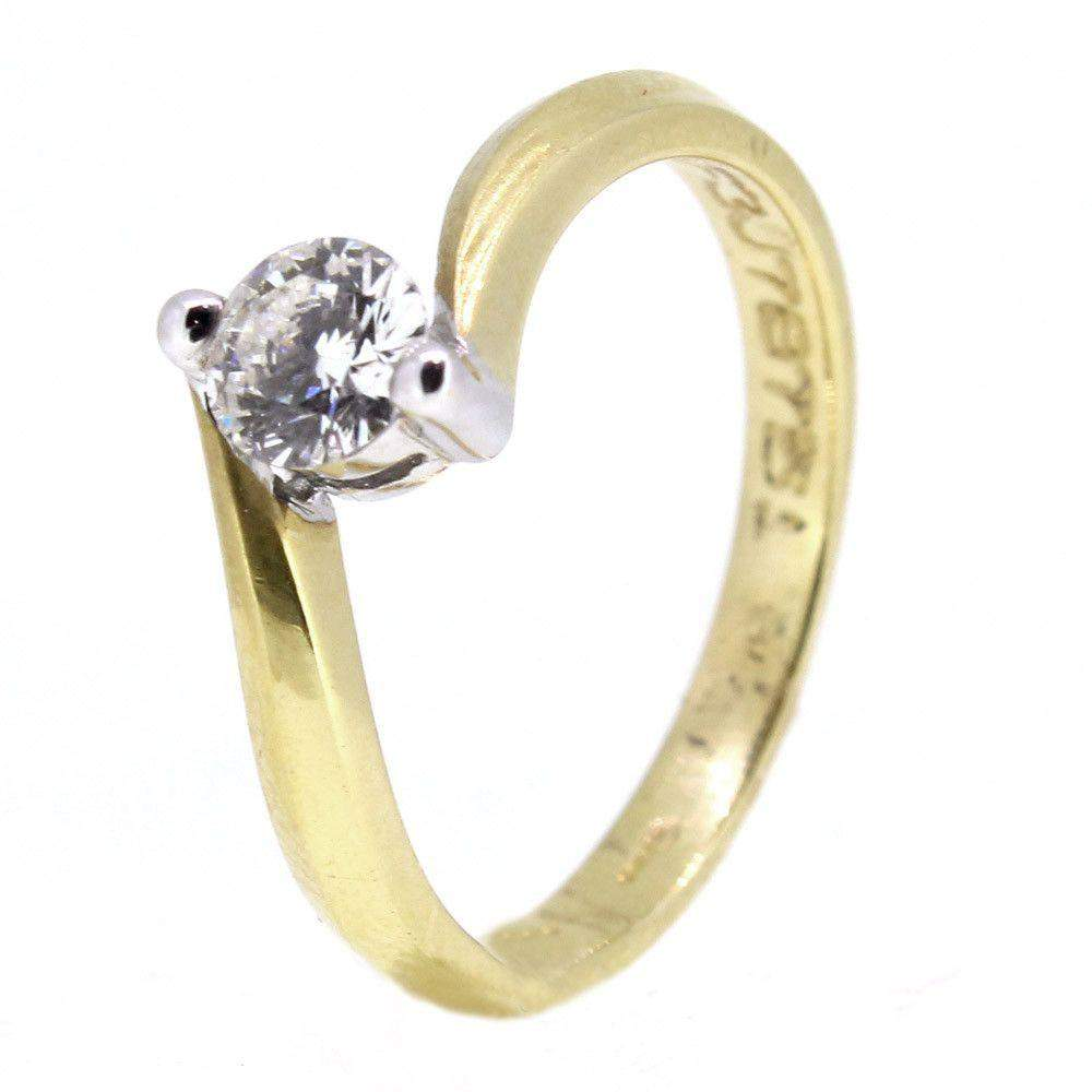 18ct Yellow Gold Twist Diamond Engagement Ring 0.33ct-Ogham Jewellery